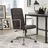Breeze through your day with the Hancox High-Back Office Chair. Complete with a sleek chic design, Hancox is a comfortable chair that comes with a generously padded vinyl back and seat, brushed stainless steel armrests, polished chrome base, five dual-wheel nylon casters for easy movement over hardwood or carpeted surfaces, full 360-degree swivel, and pneumatic height adjustment. Experience delightful work time with an office chair that exceeds expectations. Perfect for the modern home or...