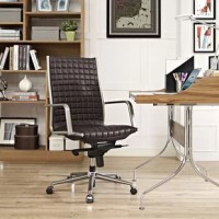 Modernize your office with the Pattern High-Back Desk Chair. Steadily advance through the day with a finely upholstered boxed seat pattern, polished steel armrests and base, padded waterfall seat, five dual-wheel casters for easy movement over hardwood or carpeted surfaces, full 360 degree swivel, tilt tension control knob, and pneumatic height adjustment. Perfect for modern home or office workspaces.