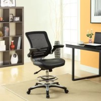 Welcome to a new era in functional comfort. This Drafting Stool implements cutting edge ergonomics to deliver a comprehensive seating experience. This collection features a breathable mesh back for lower back lumbar support, padded waterfall vinyl seat to ease pain and pressure around your thighs, flip-up padded arms, foot ring with extra tall gas cylinder, and securely locks in place with a user friendly seat tilt plus tension control knob. This is a progressive minded drafting stool perfect...