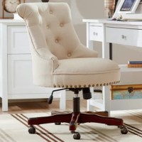 Get to work in a farmhouse-chic style with this curated task chair! Enveloped in brushed polyester upholstery, this chair features a high backrest with steep, integrated arms and around the seat. Button tufting piped edges, and nail head trim lends a tailored touch, while foam fill offers comfort and support. Sporting a rustic wood finish, the chair's base includes tilt control, a swivel mechanism, and a lever-operated lift to adjust the seat height from 20