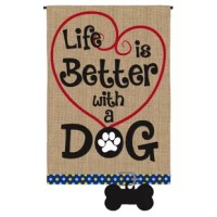 The durable polyburlap flag has the feel of real burlap and a natural crafted look with artwork heat-transferred on both sides. It is durable, fade-resistant and will not fray. Fits on most standard garden size flag holders, sold separately.