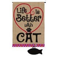 Celebrate your furry friend with this garden flag. The burlap flag states,