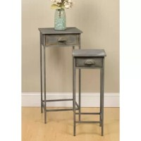 Adorn a bedroom or living space with the rustic charm of these two metal nightstands. Distressed gray finishes bring a heartwarming look to your home.