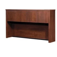 This collection offers numerous configuration possibilities for various uses. Offering smaller desks, this collection is ideal for every type of workplace including the home office. The hutch for credenza offers large closed storage space, efficient wire management and classic moldings. The opening is ideal for letter format binders. The doors are fitted with strong adjustable hinges. This unit must sit on this credenza.