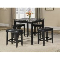 This 5pc pack counter height dining set offers simplicity with versatility for any small dining space. This set boasts a contemporary charm with elements of casual to make your dining room become a cozy place in your home. It features a faux marble table top and four matching saddle style stools. This is definitely the one that you are looking for!