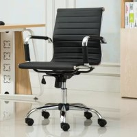 This low-back office chair is designed with a modern flair. It's wrapped in leatherette and is constructed with a chrome steel rolling base. It also is fully adjustable and features fixed padded armrests.