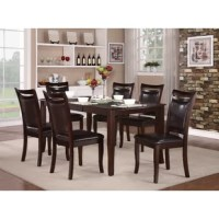A dark cherry finish on the table and wood frame chairs are complimented by the seats of dark brown bi-cast vinyl covered chairs. The cutout that tops each chair back is a simple design element that lends graceful style to this modest dining collection.