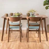 With matching wood finishes, you can't go wrong with this dining set. Including one table and four chairs, this set is ideal for any home. The mid-century style and smooth wood finishes of this set will complement any decor, making this a perfect addition for your interior space. The dining chairs feature a sturdy design with lovely upholstered seats that provide both comfort and style for your dining pleasure. Whether you are hosting a casual dinner with friends or dining with your family...