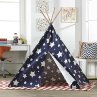 Allow your child's imagination to run free in their new home away from home. The indoor children's teepees will keep your kids entertained for long periods of time and will avoid the mess of having them build their own fort. These teepees are very well crafted. Made of eucalyptus hard wood and complete with a cotton canvas, which includes a 2-flap front opening, they are perfect for a bedroom, living room or playroom.