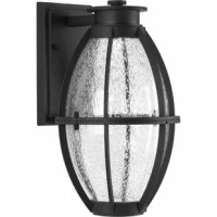 This outdoor wall lantern features coastal undertones and a design reminiscent of industrial spaces. This LED lantern is comprised of a die-cast frame. Clear seeded glass.
