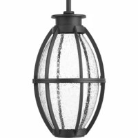 This pendant features coastal undertones and a design reminiscent of industrial spaces. This LED lantern is comprised of a die cast frame. Clear seeded glass.