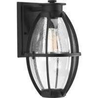 This outdoor wall lantern features coastal undertones and a design reminiscent of industrial spaces. This lantern is comprised of a die-cast frame. Clear seeded glass.
