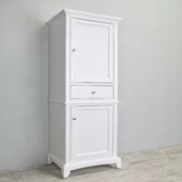 This solid wood linen side cabinet is one of the most elegant bathroom furniture lines designed. The 2 large soft closing doors and 1 middle drawer provides ample space. This cabinet provides a luxurious accent to any bathroom.