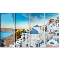 Bring contemporary abstraction to your home with this metal wall art. This 'Beautiful Santorin Houses Greece' 4 Piece Photographic Print on Canvas Set makes it the focal point of any room or office.