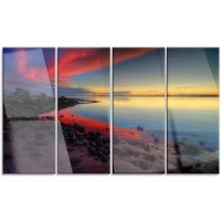 Bring contemporary abstraction to your home with this metal wall art. This 'Blasts of Color at the Sunset' 4 Piece Photographic Print on Canvas Set makes it the focal point of any room or office.