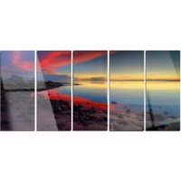 Bring contemporary abstraction to your home with this metal wall art. This 'Blasts of Color at the Sunset' 5 Piece Photographic Print on Canvas Set makes it the focal point of any room or office.