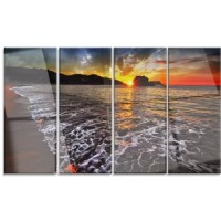 Bring contemporary abstraction to your home with this metal wall art. This 'Setting Sun and White Waves' 4 Piece Photographic Print on Canvas Set makes it the focal point of any room or office.