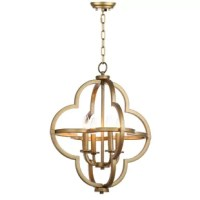 Whether it's for their eye-catching style, handy illumination, or space-conscious design, pendant lights are popular picks when it comes to lending your home a bright touch. This pendant light, for example, is a great option for washing your space in light and glamorous style thanks to its openwork quatrefoil shade crafted from metal with a gold finish. This pendant light includes four 40 W candelabra bulbs, saving you a trip to the hardware store! This piece is a great option for medium-sized...