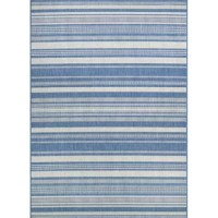 Breezy and classic, stripes are always a stylish way to splash up your space. Take this eye-catching Stripe Blue/Gray Indoor/Outdoor Area Rug for example: showcasing a line motif in different thicknesses and with other patterned details, it offers neutral hues of blue and gray. Made in Belgium, it is power-loomed of 100% fiber-enhanced court on polypropylene with a structured flat-woven design. This construction features mold- and mildew-resistant design, so it's ideal for outdoor spaces and...