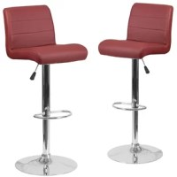 Take your entertainment ensemble into the 21st century with this pair of swivel bar stools. Crafted from metal, each piece's pedestal base showcases a semi-circle footrest and a chrome finish for a sleek and streamlined look. Up above, the square seats and low backs are padded with foam and upholstered with easy-to-clean vinyl, making these stools an ideal option for spill-prone spaces. Thanks to gas lift levers, you can adjust the seat height of these stools between 26.25