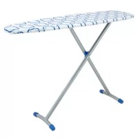 This colorful ironing board is wonderful for an ironing enthusiast looking to brighten up their day-to-day laundry duties. A lovely blue geometric pattern is printed across the cotton cover, matching the blue leg caps, which both aid in stability and reduce scuffs. The cover is tightened to the board with a simple drawstring, easily adjustable and preferable over elastic, which can lose its strength over time. This ironing board is not only stylish but also shows off a unique arched T-leg...