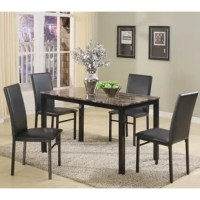 Revamp your dining room without breaking the bank with this five-piece set, complete with one rectangular table and four streamlined side chairs. Crafted from metal, each piece's frame features straight legs a versatile black finish for understated appeal. Easy-to-clean faux leather upholstery cushions each chair for a more approachable look, while faux marble in white and dark coffee tones outfits the tabletop for a dash of distinction. Full assembly is required.