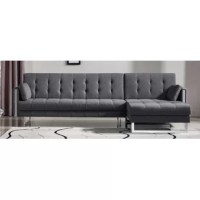 This sectional sofa sleeper features a beautiful and comfortable fabric covering and hardwood construction with chrome legs. The seating features a high-density foam covering which makes this sectional sofa sleeper exceptionally comfortable to sit on.