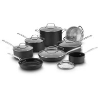 The cookware set includes everything you need to perform all the basic cooking tasks and more! Chef's classic hard-anodized non-stick cookware features durable hard-anodized construction for fast, even heating and a quantum nonstick interior for optimal food release. Constructed to last, this 14-piece set includes 8-in. open skillet, 10-in. covered skillet, 1-qt. Covered saucepan, 2-qt. Covered saucepan, 3-qt. Covered saucepan, multi-steamer insert, 3-qt. Covered to saute pan with helper handle...