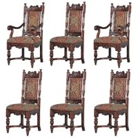 The symphony of hand carving begins with the arched stretcher and baluster legs that rise to showcase detailed skirt and rail before each of these classic Edwardian chairs culminates with enviably ornate urn finials and center pediments. Their detail is amazing! These very symmetrical, heavily masculine side and arm chairs boast a hand-rubbed mahogany finish, cushioned seats upholstered in luxuriously patterned jacquard fabric, and custom hand tacking. Our Toscano exclusives have the look and...