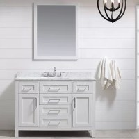 """The Tahoe vanity is perfect for those looking to have a little extra. Attention to detail and functionality are what makes this piece special. From drawers featuring built-in organizers to a flip-down front drawer, we made sure to utilize every inch of storage space. The Tahoe is appropriately complimented by modern pulls and soft-close hinges and drawer glide. Besides a large 20"""" under mount ceramic sink topped with genuine Carrara marble or white cultured marble for a truly astonishing..."""