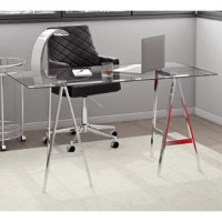 This modern desk features a trestle base in polished stainless steel with a 10mm tempered glass top. Works well in any compact and contemporary office or living space