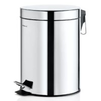 The Nexio Pedal 1.3 Gallon Step-On Metal Trash Can is a necessary item in any bathroom. The plastic liner can be removed for emptying and cleaning.