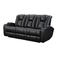 Packed with functionality, this sofa has push button power recline and a power adjustable headrest. It also features storage in the armrests, scoop seating, LED lights in the center console, and a drop down center console with cup holders, two power outlets, and two USB chargers. The controls for the sofa are located surrounding the light up cup holders. Next to the controls is a USB charger for charging your cell phone, laptop, or other devices. Sleek and stylish in black leatherette, this...