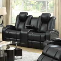Packed with functionality, this loveseat has push button power recline and power-adjustable headrests. It also features storage in the armrests, scoops seating, and a center console with cup holders. The controls for the loveseat are located surrounding the light-up cup holders. Next to the controls is a USB charger for charging your cell phone, laptop, or other devices. Next to the controls is a USB charger for charging your cell phone, laptop, or other devices. Sleek and stylish in black...