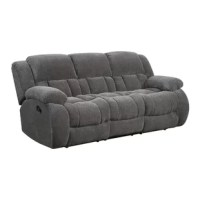 Lounge and relax with this cozy collection that features plush scoop seating, a cushioned seat back and headrest. A sofa with two reclining seats.
