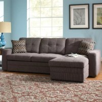 This small sectional sofa is an ideal item for homes that seeks a casual atmosphere with a contemporary edge. This three-seat sectional features a chaise on the right side so occupiers can place their feet up. It also includes a sleeper sofa component, allowing this sectional to transform into a bed that adds a cushion in front of the two left seats making them even with the end of the chaise. Inside the chaise is a storage space that makes a convenient place to keep blankets or books. The...