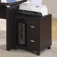 This mobile filing cabinet is the perfect combination of contemporary design and functionality. With its sleek lines and thick panels, it will add modern appeal to any home office. Stand-alone or paired with matching desk and bookshelf for optimal organization. Features two drawers for added storage and an open storage compartment for CPU or accessories. An ideal place for a printer or scanner or other computer hardware.