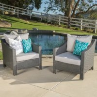 We're all about natural beauty, but even Mother Nature herself could use a little style help from time to time. That's why there's this 2-piece patio lounge set in dark, all-weather resin wicker. Including two deep seating armchairs, this outdoor furniture set features modern, straight-edged silhouettes. You don't usually see such sleek lines with traditional wicker furniture. These club chairs have sloped arms you and a guest can rest on while you chat over drinks. This lounge chair set is...