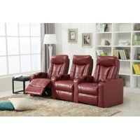 Just sit down and relax on this comfy 3 seat leather gel home theater set. Either on the movie night or family game night, it's the sanctuary for your families or friends. Additional cup holder for your beverage, recliner chair for the multi most comfort. You are going to enjoy your favor movies with your love ones.