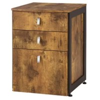 Bringing both style and storage space to your abode, this filing cabinet end table can do it all. Featuring a clean-lined silhouette that's contemporary, this piece leans a little more rustic thanks to a wood frame finished in antique nutmeg. Plus, it gets a pop of industrial-inspired flair as well with gunmetal-finished side accents and polished tab pulls adorning each of the three drawers that keep your personal items organized.