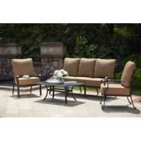 Enjoy the breeze outdoors while having the comfort of your living room. This 4 Piece Sofa Set with Cushions has comfortable seats with thick seat and back cushions. All the furniture is sturdy cast aluminum.