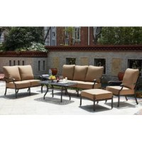 Enjoy the breeze outdoors while having the comfort of your living room. This six piece set has comfortable seats with thick seat and back cushions. All the furniture is sturdy cast aluminum.