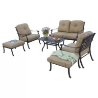 Sit, relax and put up your feet with deep seating set. Add additional seating to any outdoor living area with this stylish set that will compliment your yard perfectly. This set includes plush seat and back cushions that make sitting extraordinarily comfortable and is a perfect choice for anyone who likes to enjoy the comfort of their living room, outdoors. Frames are cast aluminum.