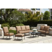 Enjoy the breeze outdoors while having the comfort of your living room. This 6 Piece Sofa Set with Cushions has comfortable seats with thick seat and back cushions. All the furniture is sturdy cast aluminum.