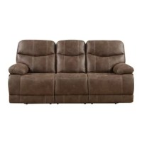 Sit back and relax in your living space in this collection that is offered as a motion sofa, motion console loveseat and a swivel gliding recliner. This collection has a very strong look with sanded microfiber and contrast baseball stitching.