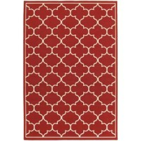 Looking to liven up your layout? A pop of pattern is the perfect pick-me-up, and this eye-catching area rug is here to help! Showcasing a contemporary geometric motif, this design is dotted with ivory and red hues for a splash of color. Since this piece is power-loomed in Egypt from polypropylene with a low 0.15