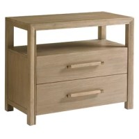 The soft horizontal grain lines of Gray Elm veneers are showcased against custom wooden pulls with metal accents offering a refined look. It offers two drawers and one open compartment for storage and display.