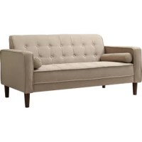 With its streamlined silhouette and square arms, this understated loveseat adds mid-century charm to your favorite seating group. Its solid color pattern perfectly complements monochromatic palettes while its button-tufted details add a refined touch to any space. Add this piece to the living room to round out a mod arrangement, then pair it with an abstract canvas print for an artful ensemble. Round out the look with a hair-on-hide rug for a touch of texture. Its foam-filled upholstery makes...