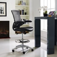 Let this ergonomic, high-back drafting chair bring your workday to new heights. As soon as you pull this piece up to a clean-lined desk, you'll be ready to be productive! This chair's back is designed with breathable mesh over a ribbed plastic spine for lumbar support, while adjustable seat height and tilt functions allow for personalized comfort to help keep proper posture. The easy-to-clean vinyl upholstered seat features a waterfall edge and a swivel function, so you can comfortably access...