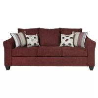 Round out your favorite seating space in understated appeal with this foam-fill sofa, crafted in the United States. Its solid color blends effortlessly into both monochromatic and vibrant spaces, while its flared arms lend transitional appeal to your seating ensemble. Lean into this piece's traditional influence by adding it to a living room seating group alongside wood-frame arm chairs and a complementing loveseat for a cohesive arrangement, then accent the space with burlap pillows for a...